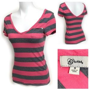 GUESS Double V Neck T-shirt Pink & Grey Stripe